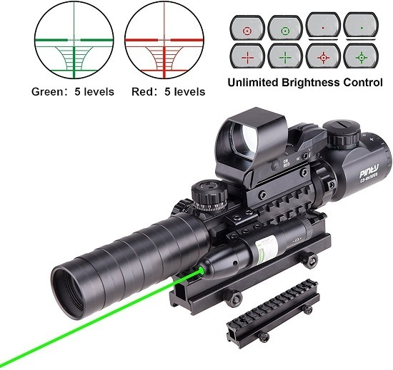Pinty Rifle Scope 3-9x32 Rangefinder Illuminated Reflex Sight 4 Reticle Green Dot Laser Sight